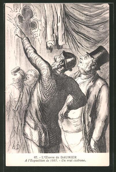 Künstler-AK sign. Honore Daumier: Mann zeigt einer Gruppe eine Kirche