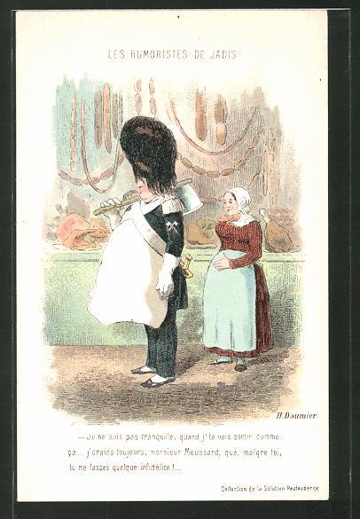 Künstler-AK sign. Honore Daumier: Dicker Soldat trägt eine Schürze