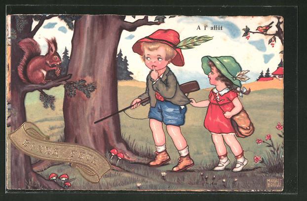 Künstler-AK Margret Boriss: A l' affut, Kleiner Jäger sieht ein Eichhörnchen