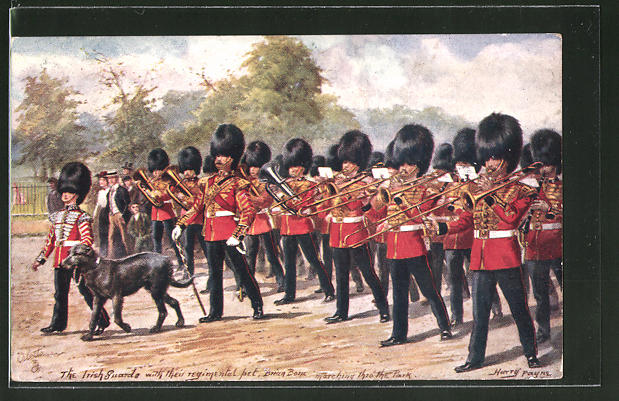 Künstler-AK Harry Payne: The Irish Guarde with their regimental pet