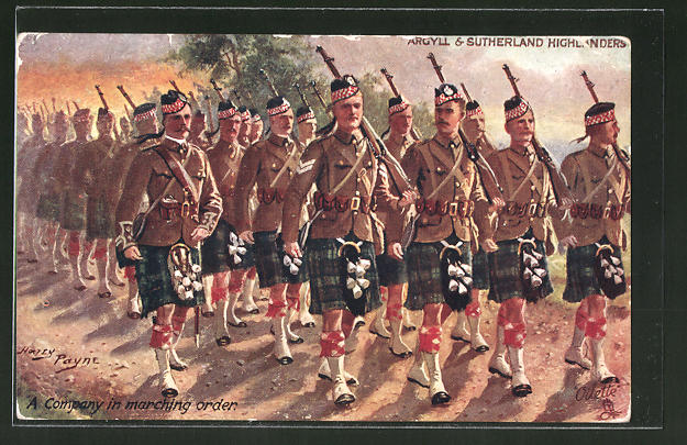 Künstler-AK Harry Payne: A Company in marching order, Argyll and Sutherland Highlanders