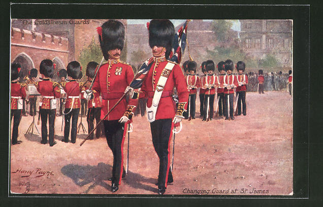 Künstler-AK Harry Payne: Coldstream Guards, changing Guard at St. James