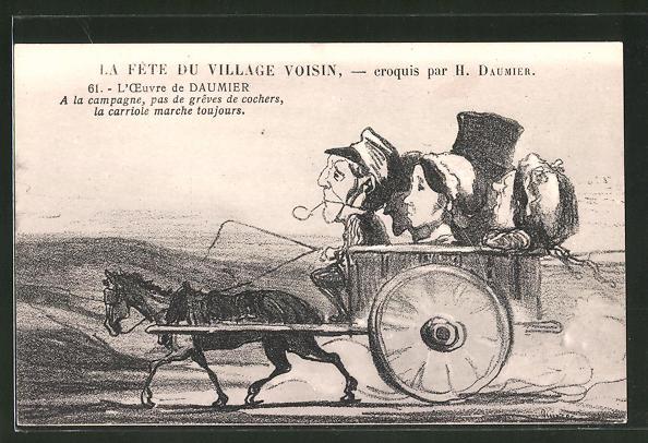 Künstler-AK sign. Honore Daumier: A la campagne, pas de greves de cochers, la crriole marche toujours