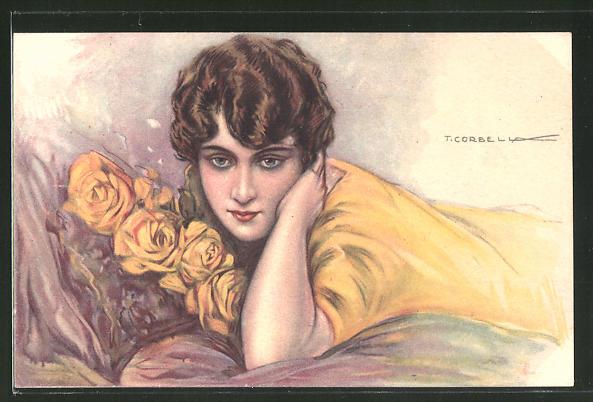 Künstler-AK Tito Corbella: Frau liegend mit gelben Rosen