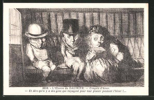 Künstler-AK sign. Honore Daumier: Croquis d'hiver, et dire qu'il y a des gens qui voyagent...