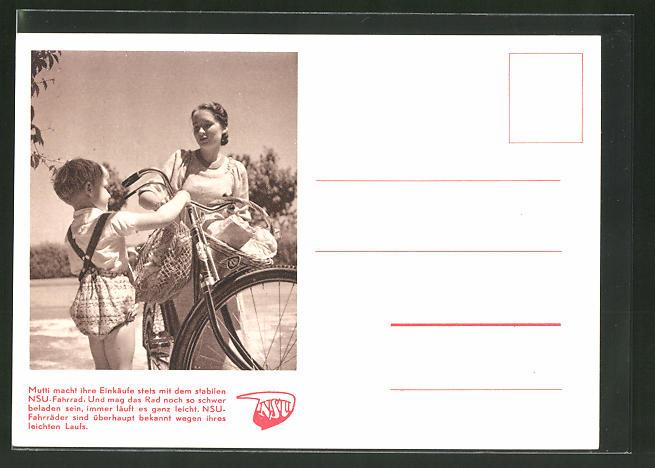 AK Mutti macht ihre Einkäufe mit dem NSU-Fahrrad