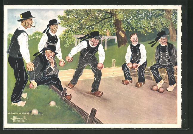 Künstler-AK Charles Homualk: En Parcourant le Brettagne, Pont-Aven, Bretonen in Tracht spielen Boules