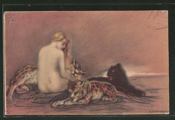 Künstler-AK A. Zandrino: nacktes Mädchen mit Jaguaren und Panther