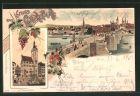 Lithographie Würzburg, Ortsansicht mit alter Brücke, Graf Eckhardtthurm