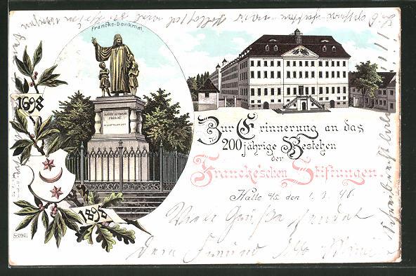Lithographie Halle a. S., 200-jähriges Bestehen der Francke'schen Stiftungen 1898