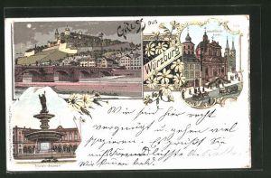Lithographie Würzburg, Ortsansicht, Neumünsterkirche, Kilian's Brunnen
