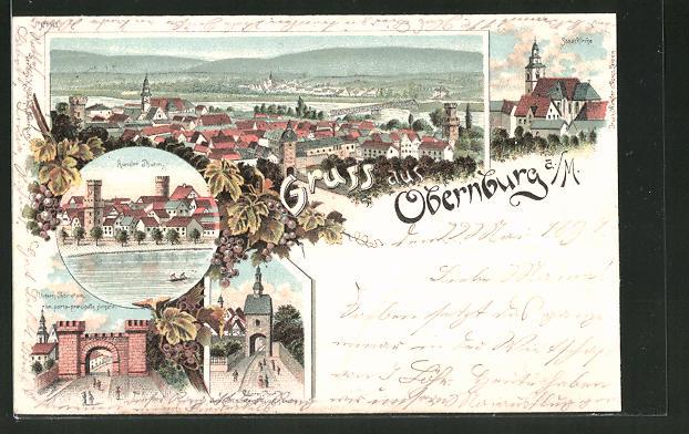 Lithographie Obernburg a. M., Runder Thurm, Unteres Thor, Stadtkirche 0