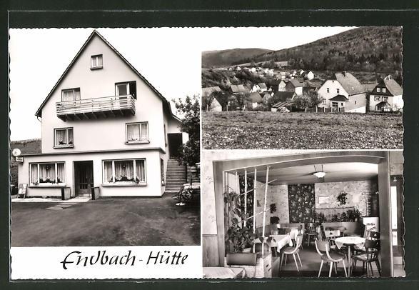 AK Endbach-Hütte, Ortsansicht aus der Vogelschau und Gaststätte-Pension Erlengrund mit Speiseraum