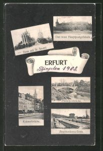 AK Erfurt, Hauptpostgebäude, Krämerbrücke, Pförtchenbrücke
