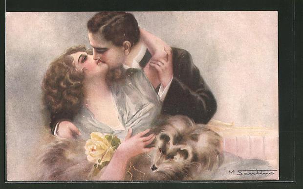 Künstler-AK M. Santino: Liebespaar küsst sich