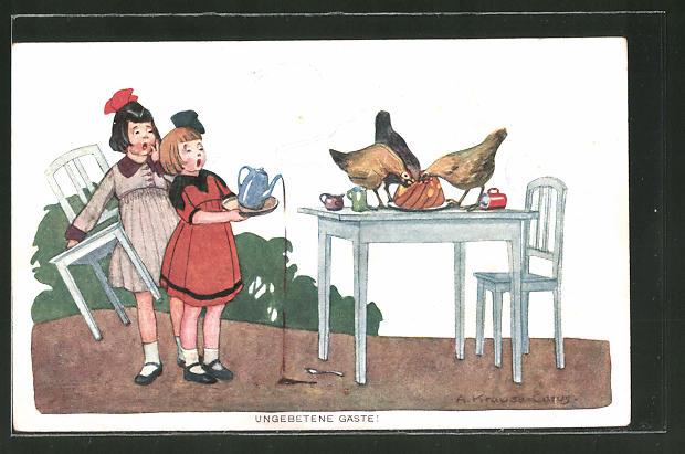 Künstler-AK Carus: Mädchen verschüttet Kaffee, Hühner essen Braten auf dem Tisch