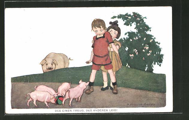 Künstler-AK Carus: Mädchen fürchtet sich vor Schweinen