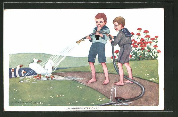Künstler-AK Carus: Zwei Jungs bespritzen Gänse mit einem Gartenschlauch