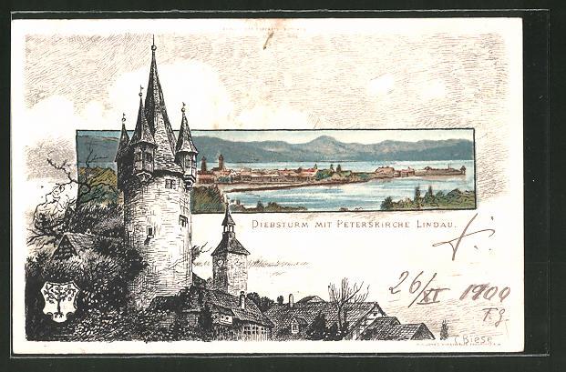 Künstler-Lithographie Carl Biese: Lindau, Diebsturm mit Peterskirche
