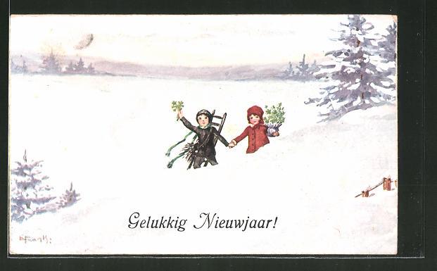 Künstler-AK Elly Frank: Schornsteinfeger hält Händchen mit seiner Liebsten, Neujahr