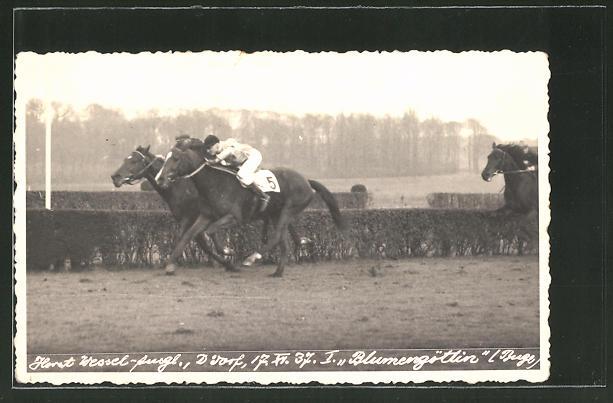 AK Horst Wessel-Ausgleich 1937, Reiter auf seinem Pferd Blumengöttin, Pferdesport