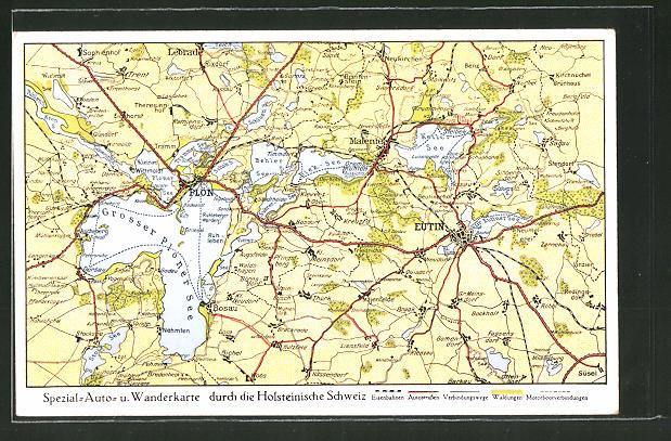 AK Plön, Landkarte der Holsteinischen Schweiz