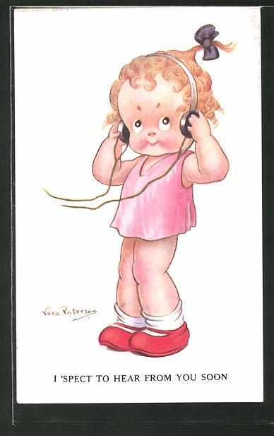 Künstler-AK sign. Vera Paterson: Kleines Mädchen setzt sich Kopfhörer auf