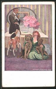 Künstler-AK Robert Sedlacek: Frau sitzt mit 3 Hunden auf dem Boden