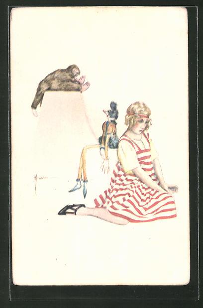 Künstler-AK Manasse: Mädchen schaut traurig auf den Boden, Affe