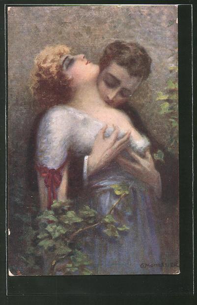 Künstler-AK C. Monestier: Mann küsst seine Liebste