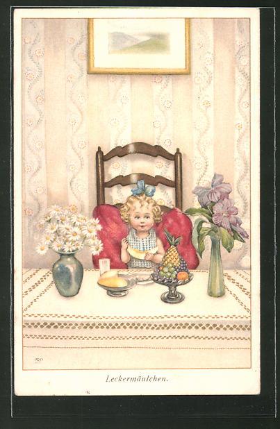 Künstler-AK Susan Beatrice Pearse: Mädchen sitzt an einem Tisch und isst Obst