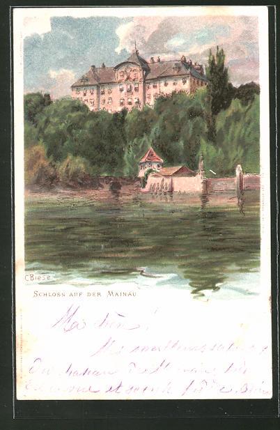 Künstler-Lithographie Carl Biese: Blick auf das Schloss auf der Mainau