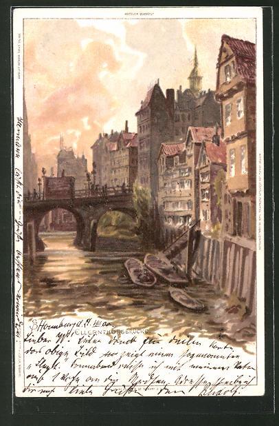 Künstler-Lithographie Carl Biese: Hamburg, Blick auf die Ellentorsbrücke