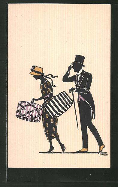 Künstler-AK Friedrich Kaskeline: Liebespaar mit Einkaufskartons