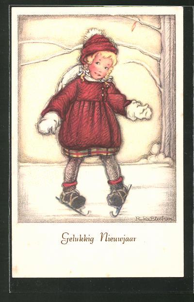 Künstler-AK sign. Rüka Bleeker: Kleines Madchen fährt Schlittschuhe