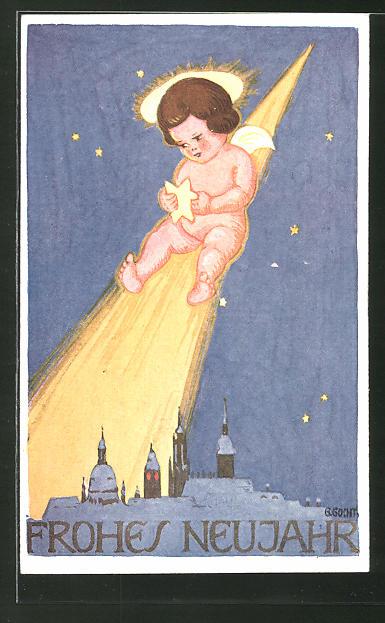 Künstler-AK sign. G. Gocht: Engel rutscht auf einer Sternschnuppe zu einer Stadt herunter