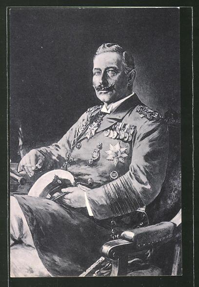 Künstler-AK Willy Stoewer: Kaiser Wilhelm II. in Uniform sitzt auf einem Stuhl
