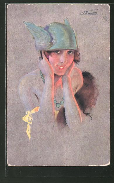 Künstler-AK sign. S. Meunier: Junge Frau mit Schwingen am Hut