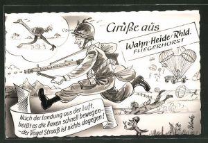 Künstler-AK Wahn-Heide, Bundeswehr-Soldat rennt einem Strauss hinterher, Fallschirmjäger
