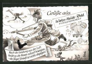 Künstler-AK Wahn-Heide, Soldat der Bundeswehr rennt, Fallschirmjäger