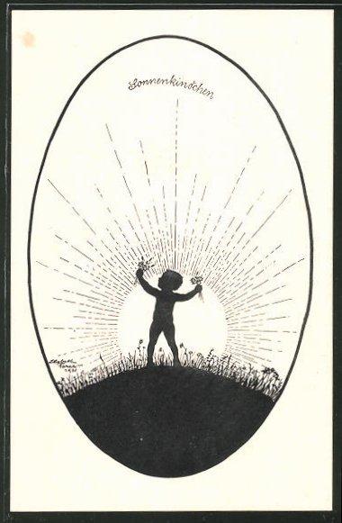 Künstler-AK Elsbeth Forck: Schattenbild Sonnenkindchen