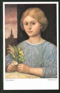 Künstler-AK Matthäus Schiestl: Junges Mädchen mit einem kleinen Blumenstrauss in der Hand