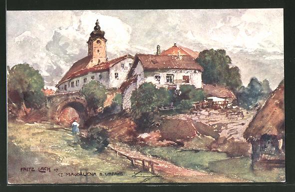 Künstler-AK Fritz Lach: St. Magdalena, Blick auf die Kirche