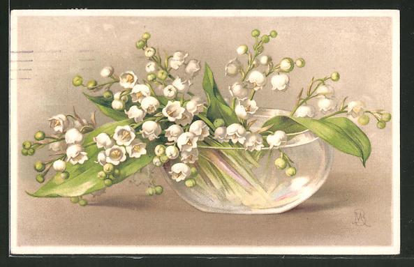 Künstler-AK M. Billing: Maiglöckchenstrauss in Vase