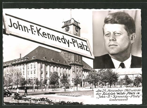 AK Berlin, John-F.-Kennedy-Platz, Porträt Kennedy