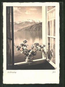Foto-AK Ernst und Bernhard Groh: Ein Ferientag, Blick aus dem Fenster auf einen Bergsee