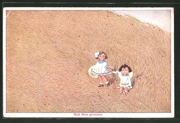 Künstler-AK H.S.B.: Zwei kleine Kinder sitzen in einem Kornfeld