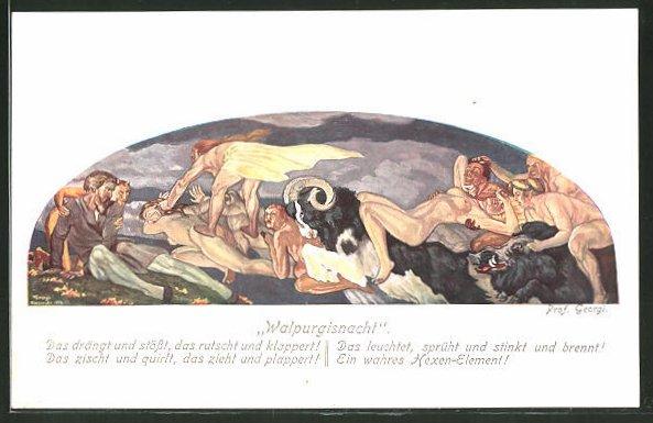 Künstler-AK Walter Georgi: Walpurgisnacht, Fabelwesen