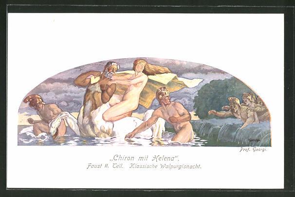 Künstler-AK Walter Georgi: Faust II. Teil, Chiron mit Helene, Walpurgisnacht