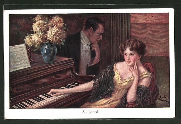 Künstler-AK Ruab Gnischaf: Frau sitzt am Klavier und ihr Geliebter schaut ihr zu